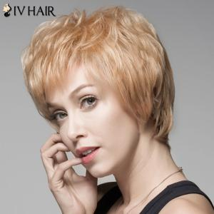 Fluffy Human Hair Short Side Bang Wig For Women -