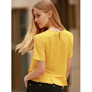 Fashionable Short Sleeve Pleated Hem Yellow Pullover T-Shirt For Women -