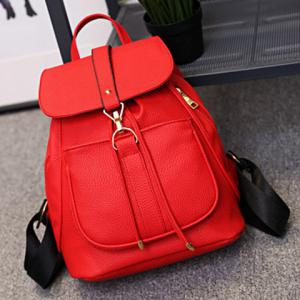 Leisure Solid Color and String Design Satchel For Women -