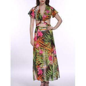 The Jungle Style Trees Print Hollow Out Waist Maxi Dress For Women -