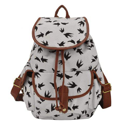 Outfit Concise Color Block and Printed Design Women's Canvas Satchel