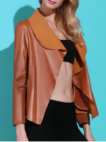 Chic Stylish Turn-Down Collar PU Leather Long Sleeve Jacket For Women BROWN M