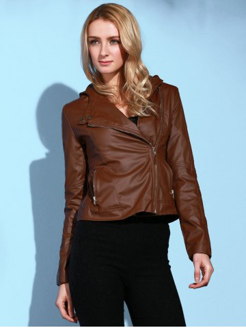Unique Stylish Hooded Long Sleeve Solid Color PU Women's Jacket - M BROWN Mobile