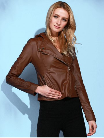 Trendy Stylish Hooded Long Sleeve Solid Color PU Women's Jacket BROWN L