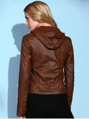 Unique Stylish Hooded Long Sleeve Solid Color PU Women's Jacket - L BROWN Mobile