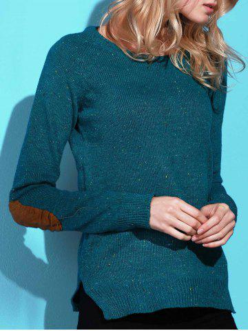 Fancy Stylish Back Buttoned Elbow Spliced Pullover Sweater For Women GREEN M