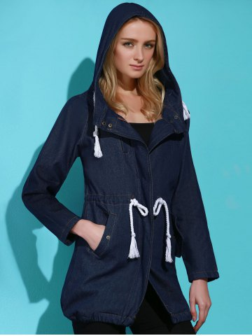 Stylish Hooded Long Sleeve Drawstring Women's Mid Length Coat - Blue - Xl