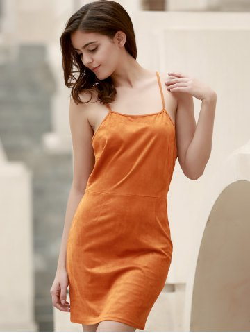 Hot Spaghetti Strap Lace-Up Cami Club Dress - S ORANGE RED Mobile