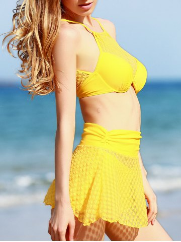 Buy Fresh Style High Neck See-Through Polka Dot Three Piece Yellow Bathing Suit For Women