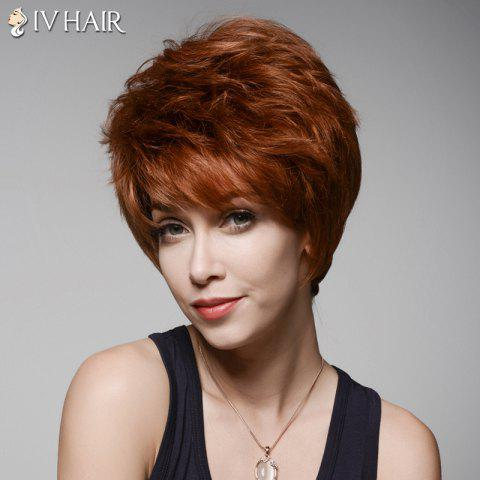 Trendy Ladylike Short Hairstyle Capless Bouffant Natural Wavy Side Bang Women's Human Hair Wig