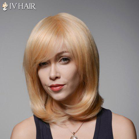 Chic Vogue Medium Side Bang Capless Elegant Straight Tail Adduction Human Hair Wig For Women
