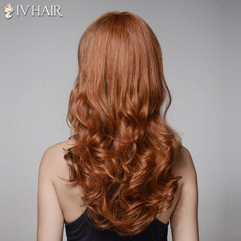 Best Trendy Inclined Bang Long Fluffy Wavy Capless  Human Hair Wig - AUBURN BROWN #30  Mobile