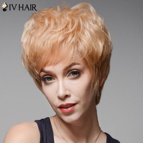 Online Fluffy Skilful Human Hair Curly Short Side Bang Wig For Women