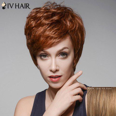Trendy Fluffy Skilful Human Hair Short Side Bang Wig For Women - BROWN WITH BLONDE  Mobile