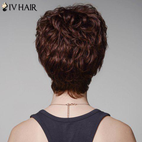 Outfits Skilful Human Hair Curly Full Bang Short Wig For Women - DARK  BROWN  Mobile