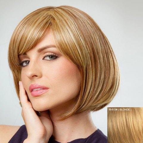Fancy Attractive Bob Style Inclined Bang Human Hair Wig For Women