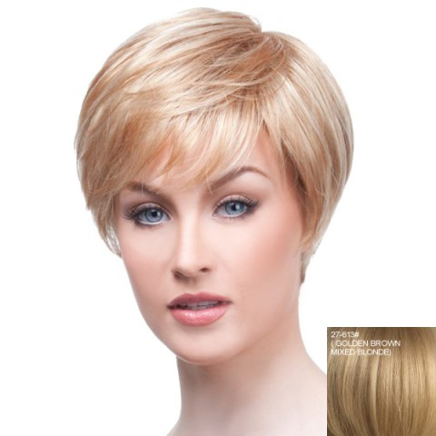 Affordable Towheaded Short Oblique Bang Human Hair Wig For Women