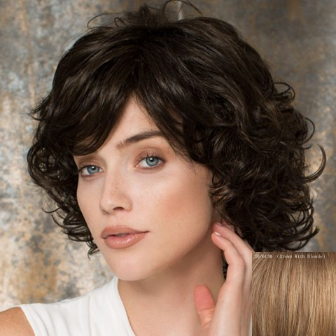 Towheaded Curly Side Bang Human Hair Wig For Women - BROWN/BLONDE