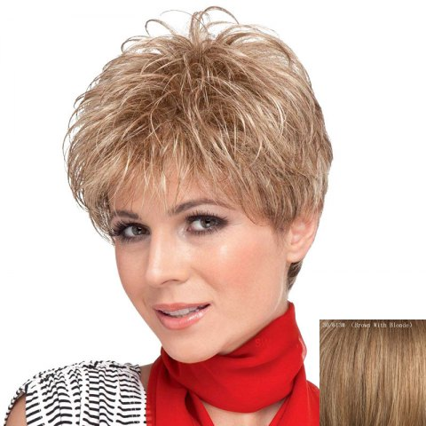 Hot Towheaded Side Bang Curly Human Hair Short Wig For Women