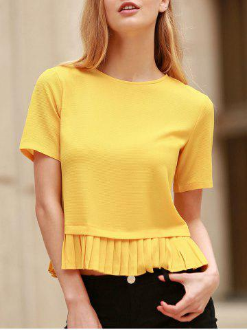 Trendy Fashionable Short Sleeve Pleated Hem Yellow Pullover T-Shirt For Women