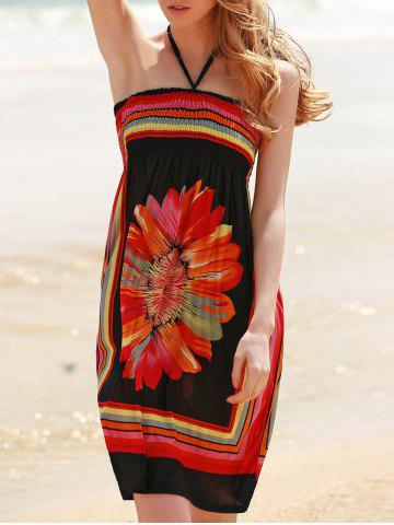 New Bohemian Halter Sleeveless Women's Floral Dress - XL BLACK Mobile