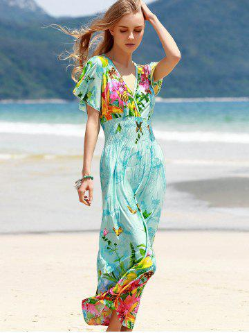 2018 Bohemian Plunging Neck Short Sleeve Women S Floral