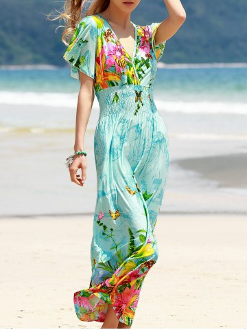 Cheap Bohemian Plunging Neck Short Sleeve Women's Floral Dress