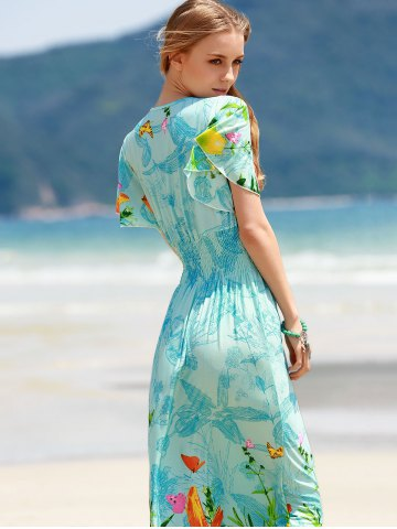 Buy Bohemian Plunging Neck Short Sleeve Women's Floral Dress - ONE SIZE(FIT SIZE XS TO M) BLUE Mobile
