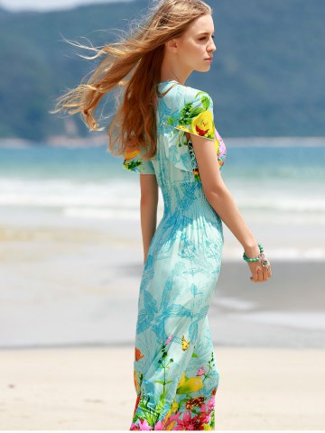 Latest Bohemian Plunging Neck Short Sleeve Women's Floral Dress - ONE SIZE(FIT SIZE XS TO M) BLUE Mobile