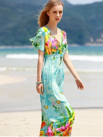 Sale Bohemian Plunging Neck Short Sleeve Women's Floral Dress - ONE SIZE(FIT SIZE XS TO M) BLUE Mobile