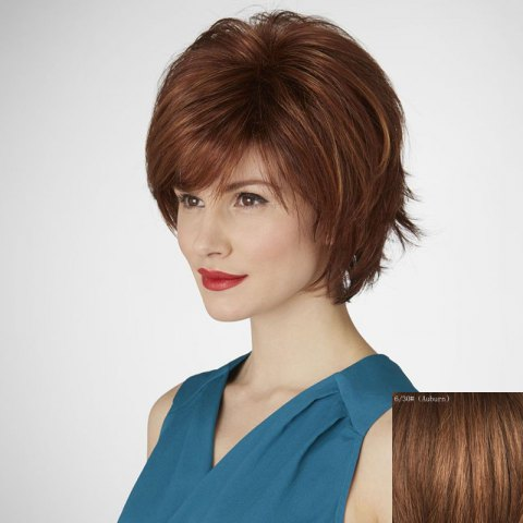 Cheap Women's Fluffy Side Bang Short Human Hair Wig