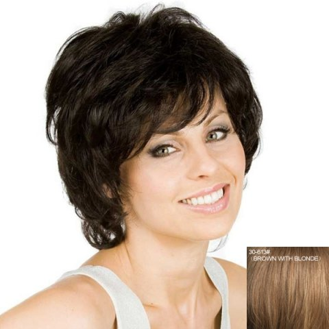 Unique Women's Fluffy Curly Inclined Bang Human Hair Wig