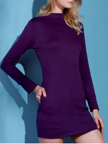 Trendy Long Sleeve High Neck Mini Tight Dress - L PURPLE Mobile