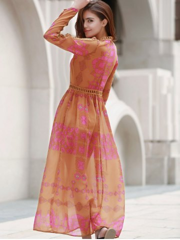 Outfit Bohemian Plunging Neck Long Sleeve Lace Embellished Printed Dress For Women - L ORANGE Mobile