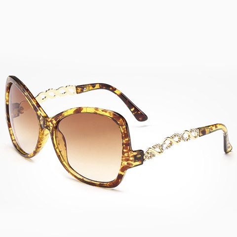 Unique Chic Rhinestone Hollow Chain Shape Decorated Flecky Sunglasses For Women