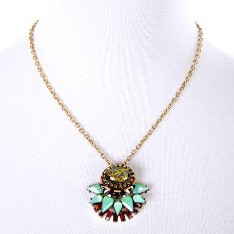 Fashion Trendy Faux Crystal Decorated Oval Necklace For Women