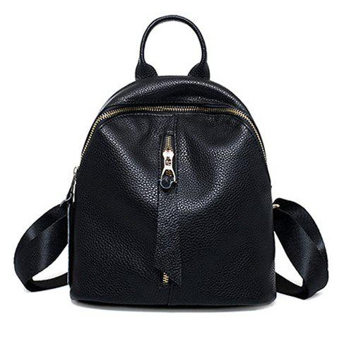 Best Preppy Solid Color and PU Leather Design Backpack For Women BLACK