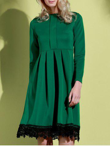 Outfit Noble Round Collar Lace Hem Long Sleeve Ruffled Dress For Women GREEN S