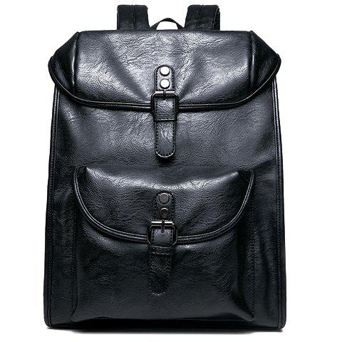 Buy Fashionable Black Colour Double Buckle Design Backpack Women