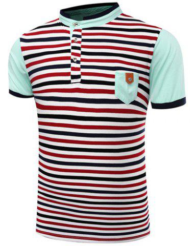 Hot Stand Collar Stripes Print Patch Pocket Short Sleeve Men's Polo T-Shirt