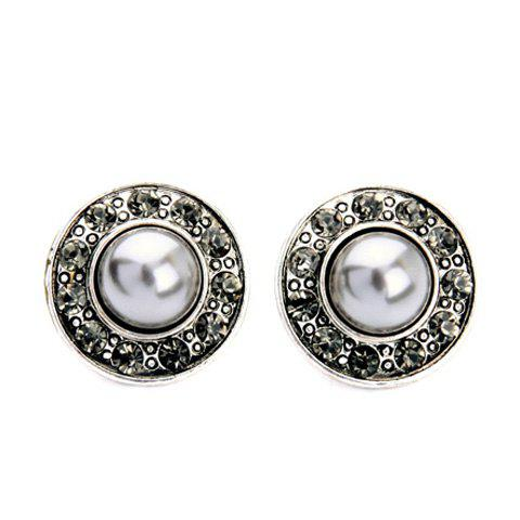 Sale Diamanted Faux Pearl Round Earrings
