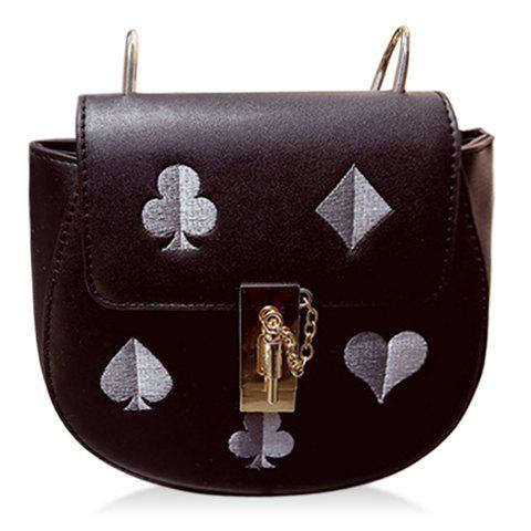 Buy Sweet Chain and Embroidery Design Crossbody Bag For Women BLACK