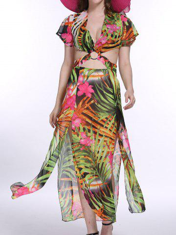 Trendy The Jungle Style Trees Print Hollow Out Waist Maxi Dress For Women