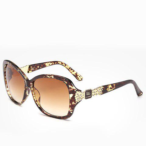 Latest Chic Rhinestone and Letters Metal Embellished Flecky Sunglasses For Women