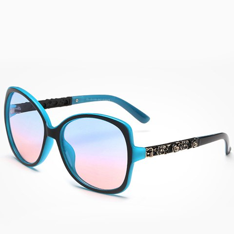 New Chic Flower Shape Carve Embellished Black and Blue Sunglasses For Women