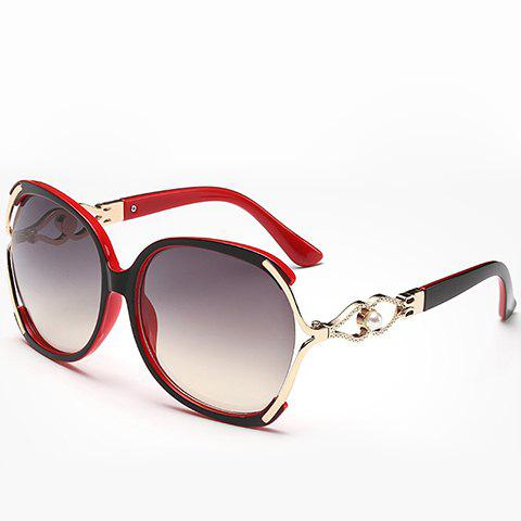 Store Faux Pearl Inlay Hollow Bow Affordable Polarized Sunglasses RED/BLACK