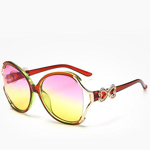 Shops Chic Hollow Out Heart Bow Design Two Color Lenses Sunglasses For Women