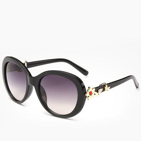 Fashion Chic Faux Ruby Inlay Flower Shape Embellished Sunglasses For Women