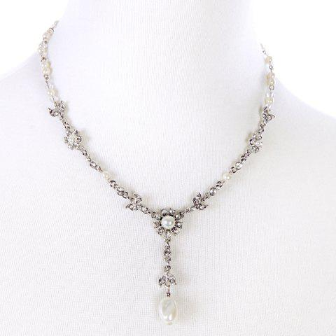 Unique Faux Pearl Rhinestone Flower Pendant Necklace