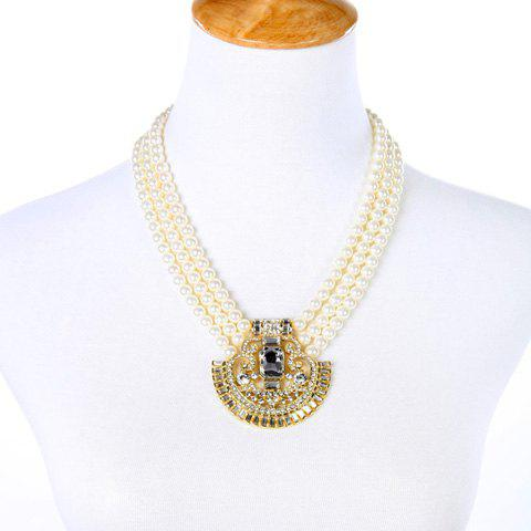 Online Vintage Rhinestone Faux Pearl Hollow Out Necklace